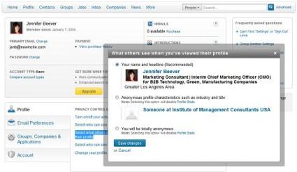 LinkedIn View Profile Privacy