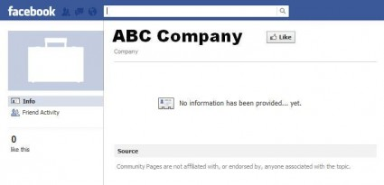 Blank Facebook Company Page