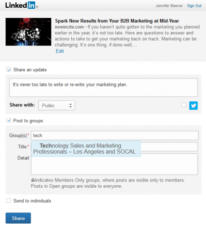 LinkedIn Plugin Share with Groups